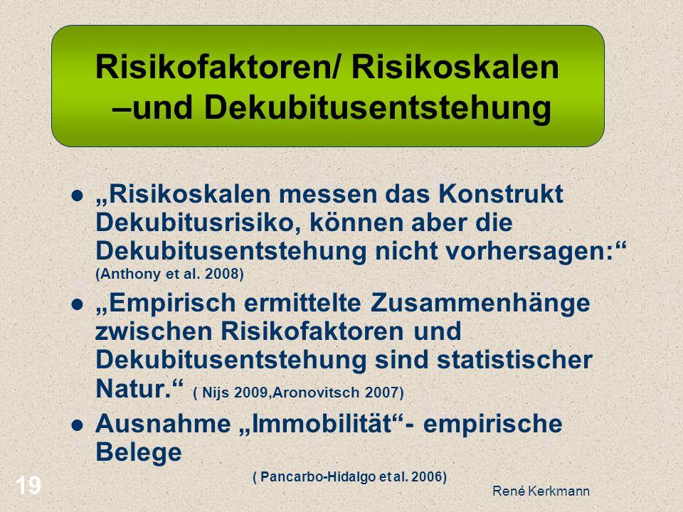 19 Risikoskalen messen das Konstrukt Dekubitusrisiko, können aber die Dekubitusentstehung nicht vorhersagen: (Anthony et al. 2008) Empirisch ermittelt