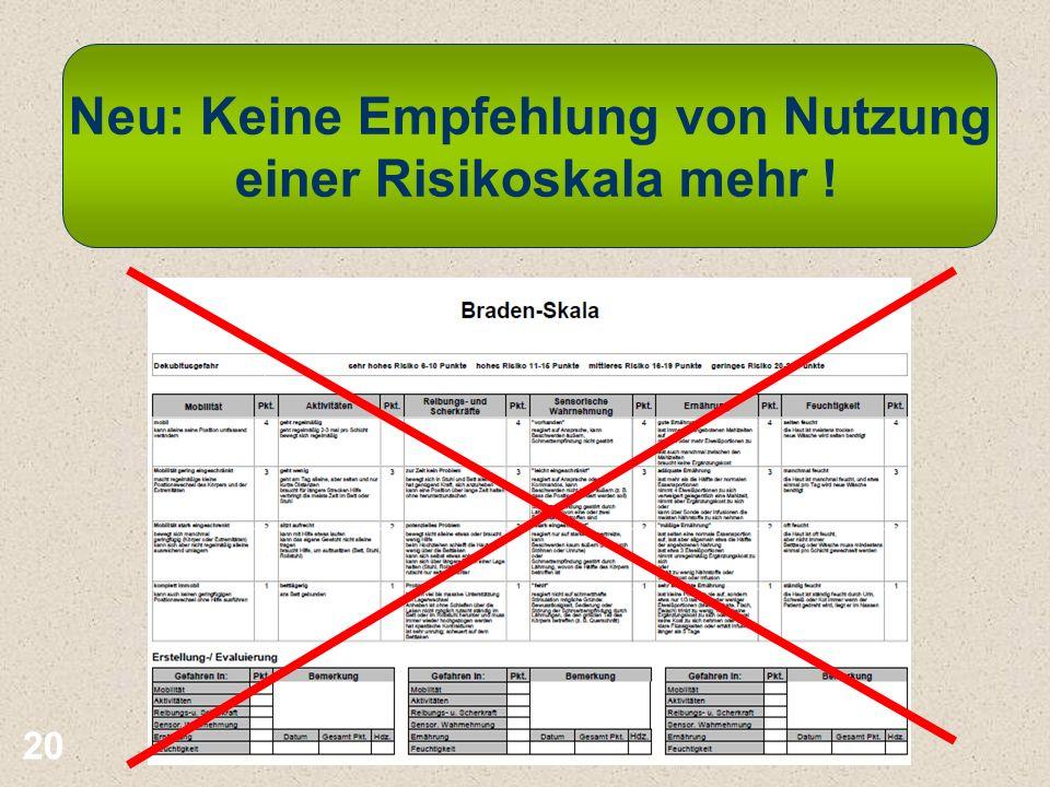 20 Neu: Keine Empfehlung von Nutzung einer Risikoskala mehr !