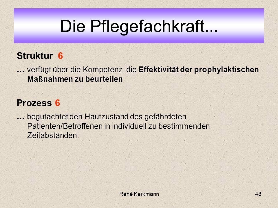 48 Struktur 6... verfügt über die Kompetenz, die Effektivität der prophylaktischen Maßnahmen zu beurteilen Prozess 6... begutachtet den Hautzustand de