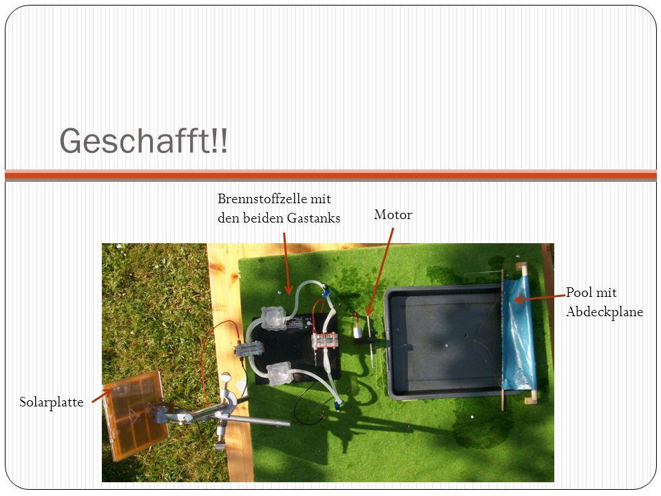 Pool mit Abdeckplane Brennstoffzelle mit den beiden Gastanks Solarplatte Motor