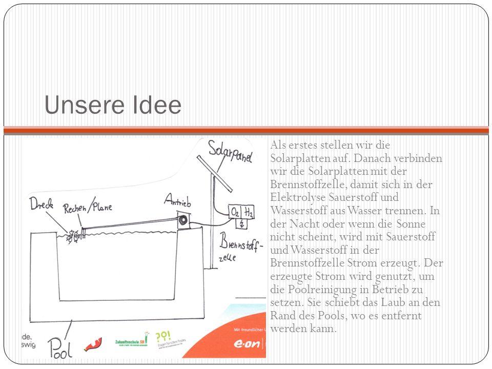 Unsere Idee Als erstes stellen wir die Solarplatten auf. Danach verbinden wir die Solarplatten mit der Brennstoffzelle, damit sich in der Elektrolyse