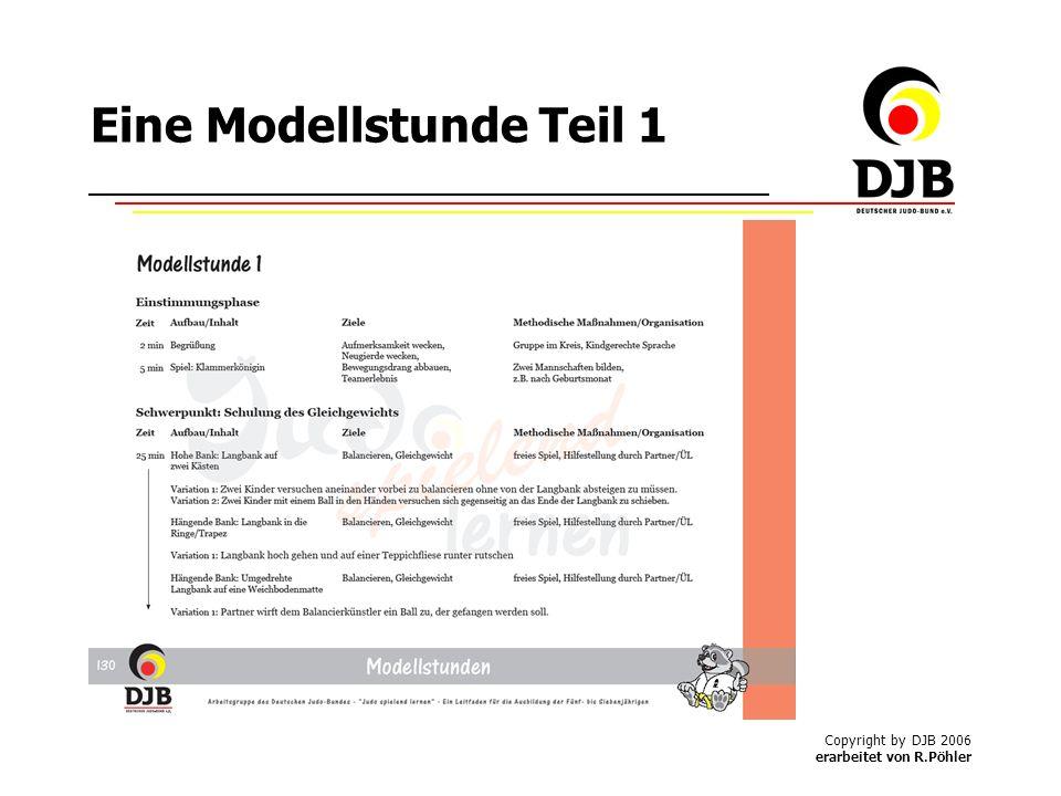 Copyright by DJB 2006 erarbeitet von R.Pöhler Eine Modellstunde Teil 1