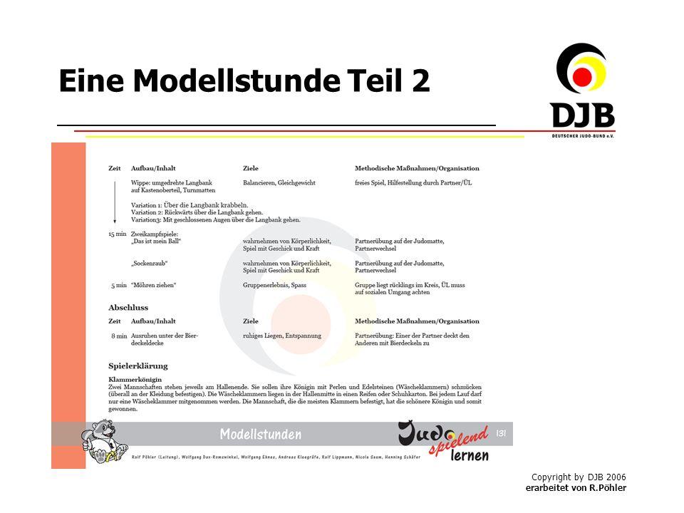 Copyright by DJB 2006 erarbeitet von R.Pöhler Eine Modellstunde Teil 2