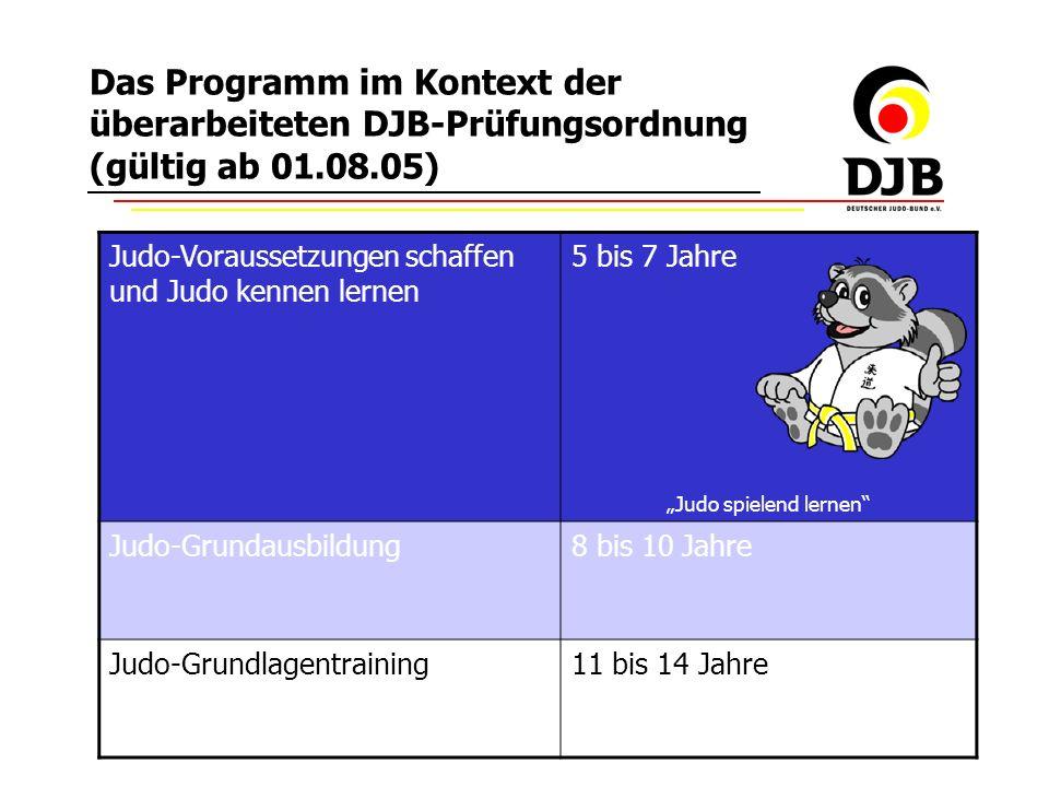 Copyright by DJB 2006 erarbeitet von R.Pöhler Das Programm im Kontext der überarbeiteten DJB-Prüfungsordnung (gültig ab 01.08.05) Judo-Voraussetzungen schaffen und Judo kennen lernen 5 bis 7 Jahre Judo spielend lernen Judo-Grundausbildung8 bis 10 Jahre Judo-Grundlagentraining11 bis 14 Jahre