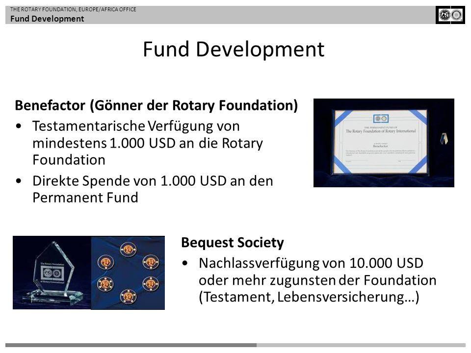 THE ROTARY FOUNDATION, EUROPE/AFRICA OFFICE Fund Development Benefactor (Gönner der Rotary Foundation) Testamentarische Verfügung von mindestens 1.000