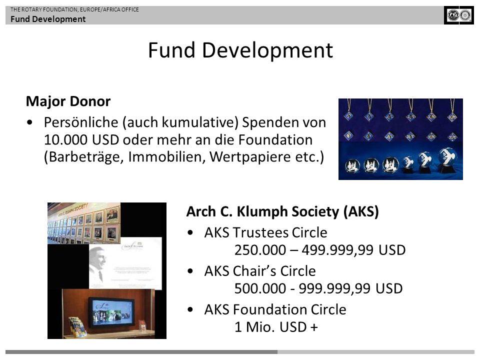 THE ROTARY FOUNDATION, EUROPE/AFRICA OFFICE Fund Development Major Donor Persönliche (auch kumulative) Spenden von 10.000 USD oder mehr an die Foundat