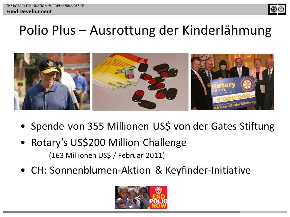 THE ROTARY FOUNDATION, EUROPE/AFRICA OFFICE Fund Development Spende von 355 Millionen US$ von der Gates Stiftung Rotarys US$200 Million Challenge (163