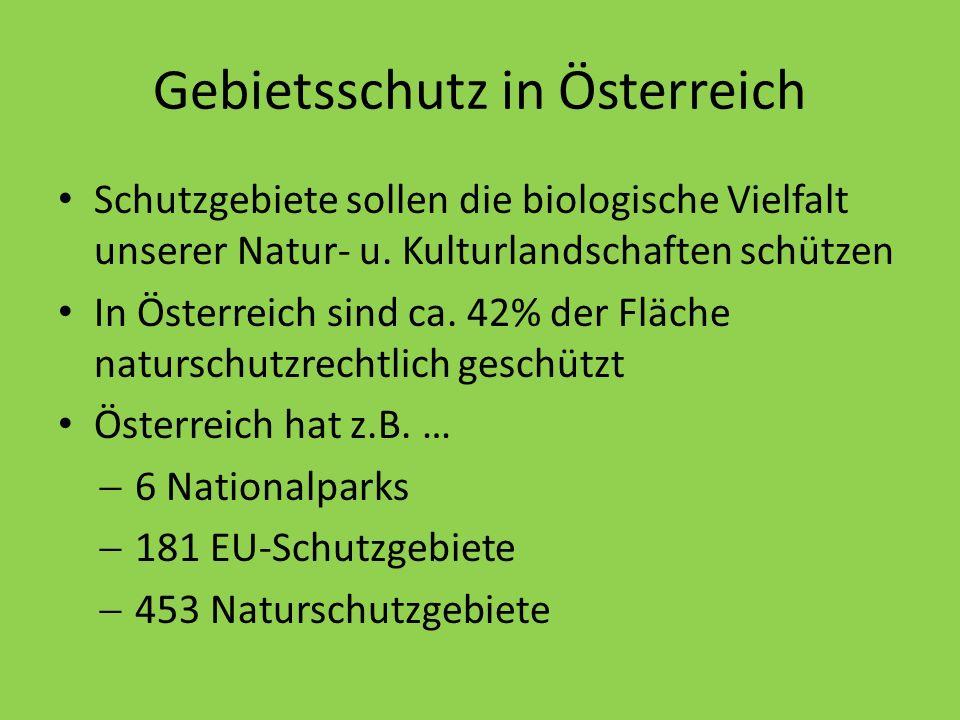 Gebietsschutz in Österreich Schutzgebiete sollen die biologische Vielfalt unserer Natur- u. Kulturlandschaften schützen In Österreich sind ca. 42% der