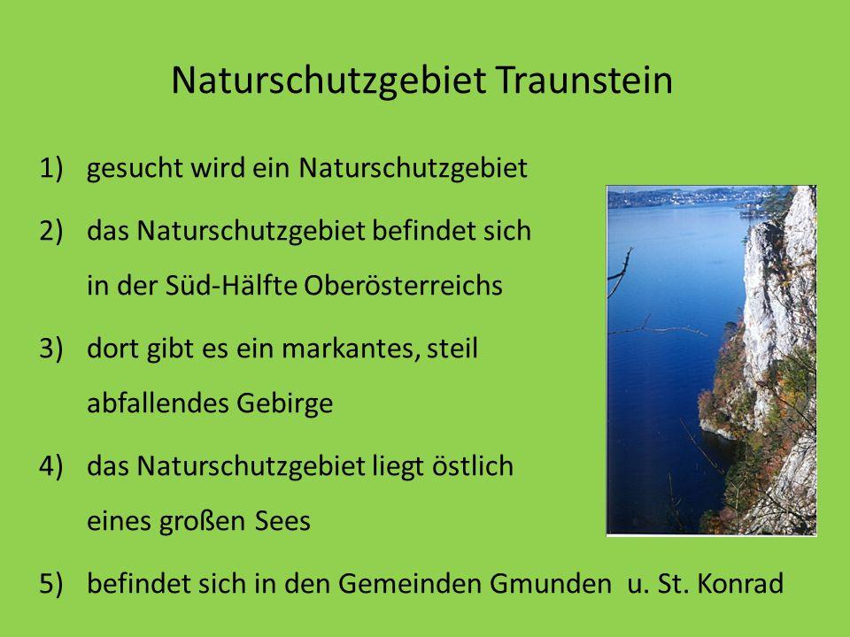 Naturschutzgebiet Traunstein 1)gesucht wird ein Naturschutzgebiet 2)das Naturschutzgebiet befindet sich in der Süd-Hälfte Oberösterreichs 3)dort gibt