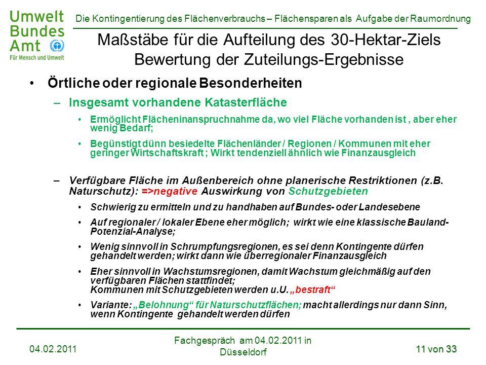 Die Kontingentierung des Flächenverbrauchs – Flächensparen als Aufgabe der Raumordnung Fachgespräch am 04.02.2011 in Düsseldorf 04.02.201111 von 33 Ma