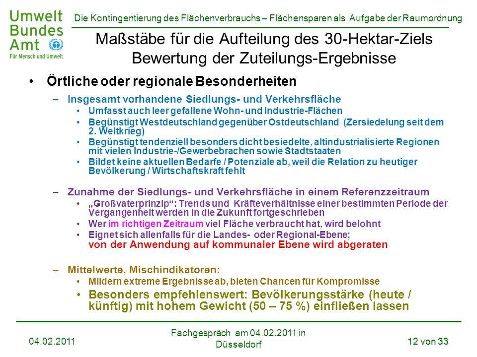 Die Kontingentierung des Flächenverbrauchs – Flächensparen als Aufgabe der Raumordnung Fachgespräch am 04.02.2011 in Düsseldorf 04.02.201112 von 33 Ma
