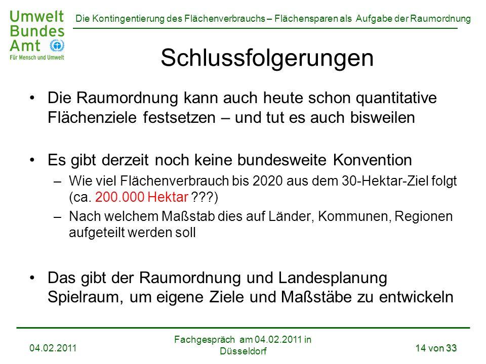 Die Kontingentierung des Flächenverbrauchs – Flächensparen als Aufgabe der Raumordnung Die Raumordnung kann auch heute schon quantitative Flächenziele