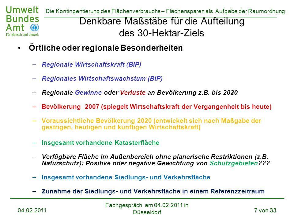 Die Kontingentierung des Flächenverbrauchs – Flächensparen als Aufgabe der Raumordnung Fachgespräch am 04.02.2011 in Düsseldorf 04.02.20117 von 33 Den