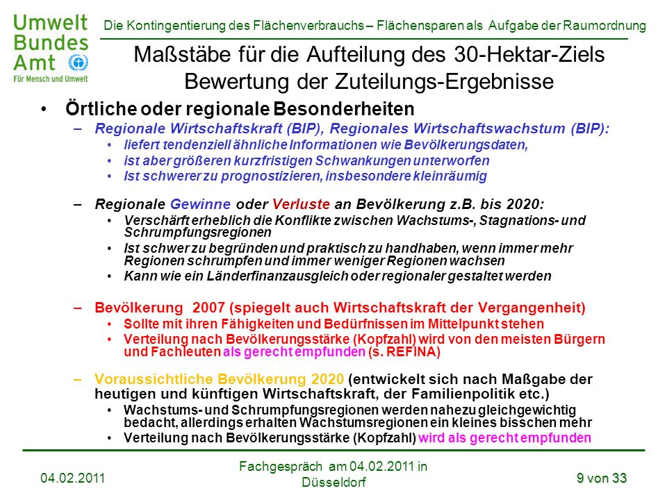 Die Kontingentierung des Flächenverbrauchs – Flächensparen als Aufgabe der Raumordnung Fachgespräch am 04.02.2011 in Düsseldorf 04.02.20119 von 33 Maß
