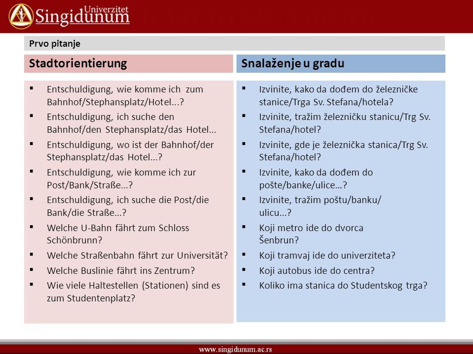 Prvo pitanje Stadtorientierung Das weiß ich leider nicht.