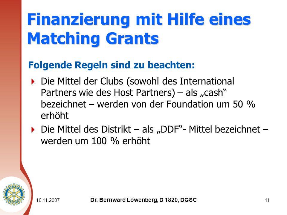 11 Finanzierung mit Hilfe eines Matching Grants Folgende Regeln sind zu beachten: Die Mittel der Clubs (sowohl des International Partners wie des Host Partners) – als cash bezeichnet – werden von der Foundation um 50 % erhöht Die Mittel des Distrikt – als DDF- Mittel bezeichnet – werden um 100 % erhöht Dr.