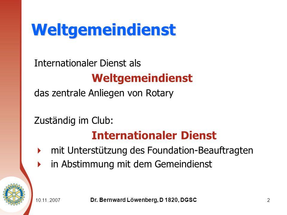 Weltgemeindienst Internationaler Dienst als Weltgemeindienst das zentrale Anliegen von Rotary Zuständig im Club: Internationaler Dienst mit Unterstützung des Foundation-Beauftragten in Abstimmung mit dem Gemeindienst 10.11..20072 Dr.