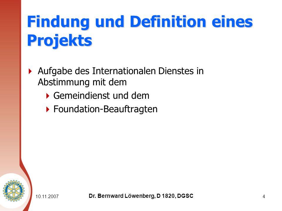 10.11.20074 Findung und Definition eines Projekts Aufgabe des Internationalen Dienstes in Abstimmung mit dem Gemeindienst und dem Foundation-Beauftragten Dr.