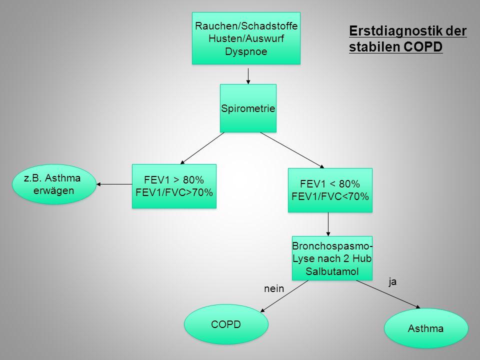 Rauchen/Schadstoffe Husten/Auswurf Dyspnoe Rauchen/Schadstoffe Husten/Auswurf Dyspnoe COPD Spirometrie FEV1 > 80% FEV1/FVC>70% FEV1 > 80% FEV1/FVC>70%