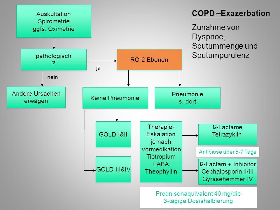 COPD –Exazerbation Zunahme von Dyspnoe, Sputummenge und Sputumpurulenz Auskultation Spirometrie ggfs. Oximetrie Auskultation Spirometrie ggfs. Oximetr