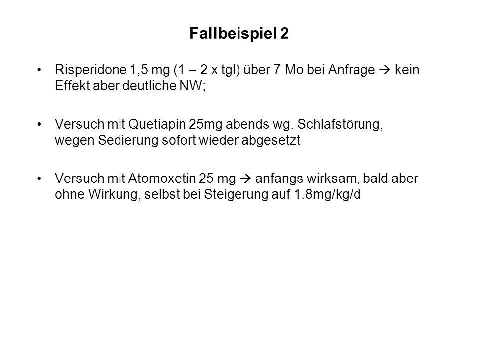 Fallbeispiel 2 Risperidone 1,5 mg (1 – 2 x tgl) über 7 Mo bei Anfrage kein Effekt aber deutliche NW; Versuch mit Quetiapin 25mg abends wg. Schlafstöru