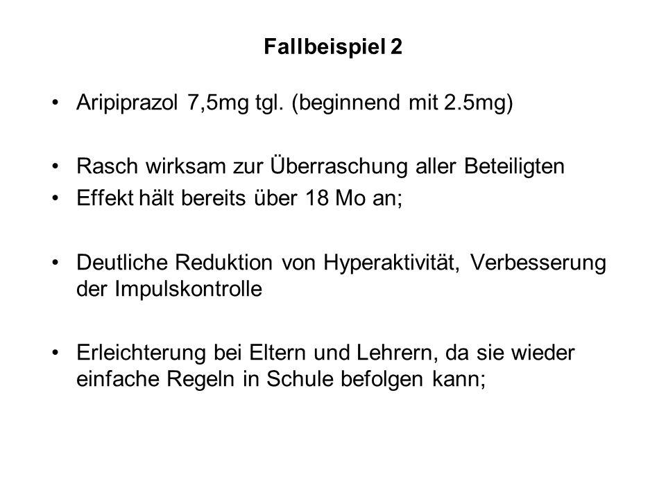 Fallbeispiel 2 Aripiprazol 7,5mg tgl. (beginnend mit 2.5mg) Rasch wirksam zur Überraschung aller Beteiligten Effekt hält bereits über 18 Mo an; Deutli