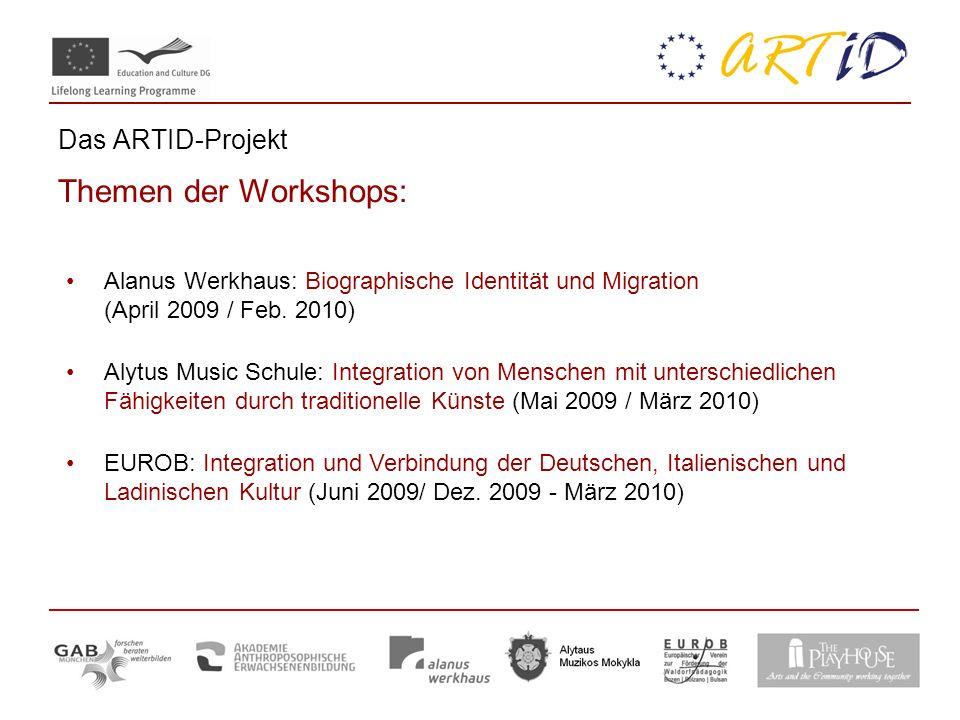Das ARTID-Projekt Themen der Workshops: Alanus Werkhaus: Biographische Identität und Migration (April 2009 / Feb. 2010) Alytus Music Schule: Integrati