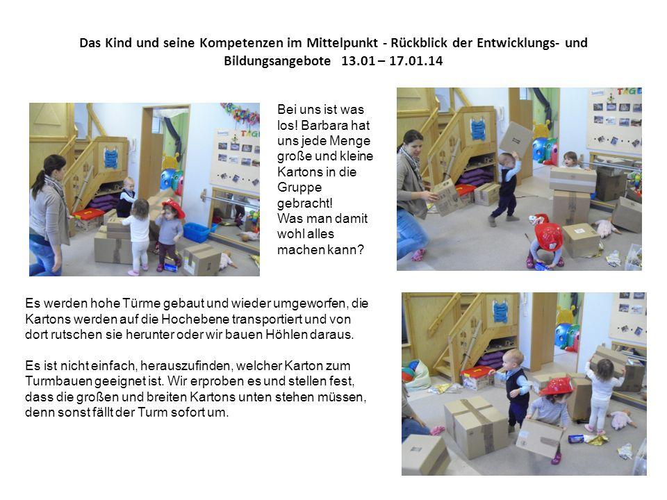 Das Kind und seine Kompetenzen im Mittelpunkt - Rückblick der Entwicklungs- und Bildungsangebote 13.01 – 17.01.14 Bei uns ist was los.