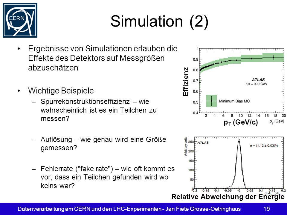 Datenverarbeitung am CERN und den LHC-Experimenten - Jan Fiete Grosse-Oetringhaus19 Simulation (2) Ergebnisse von Simulationen erlauben die Effekte de