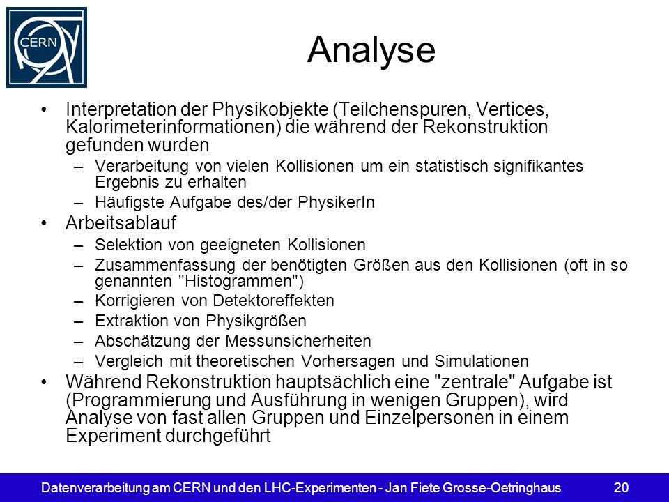Datenverarbeitung am CERN und den LHC-Experimenten - Jan Fiete Grosse-Oetringhaus20 Analyse Interpretation der Physikobjekte (Teilchenspuren, Vertices