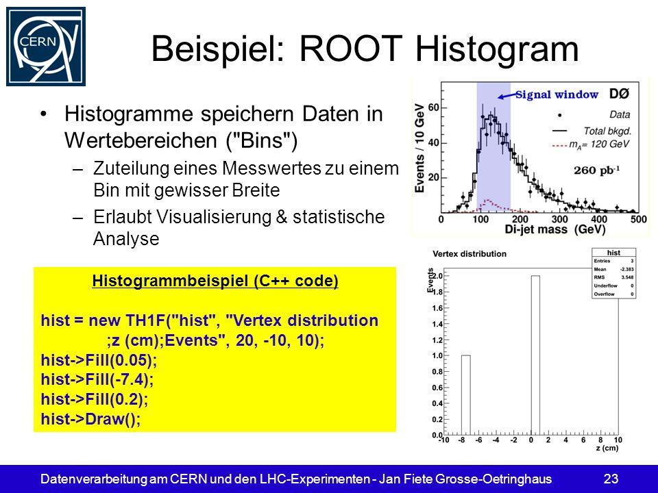 Datenverarbeitung am CERN und den LHC-Experimenten - Jan Fiete Grosse-Oetringhaus23 Beispiel: ROOT Histogram Histogramme speichern Daten in Werteberei