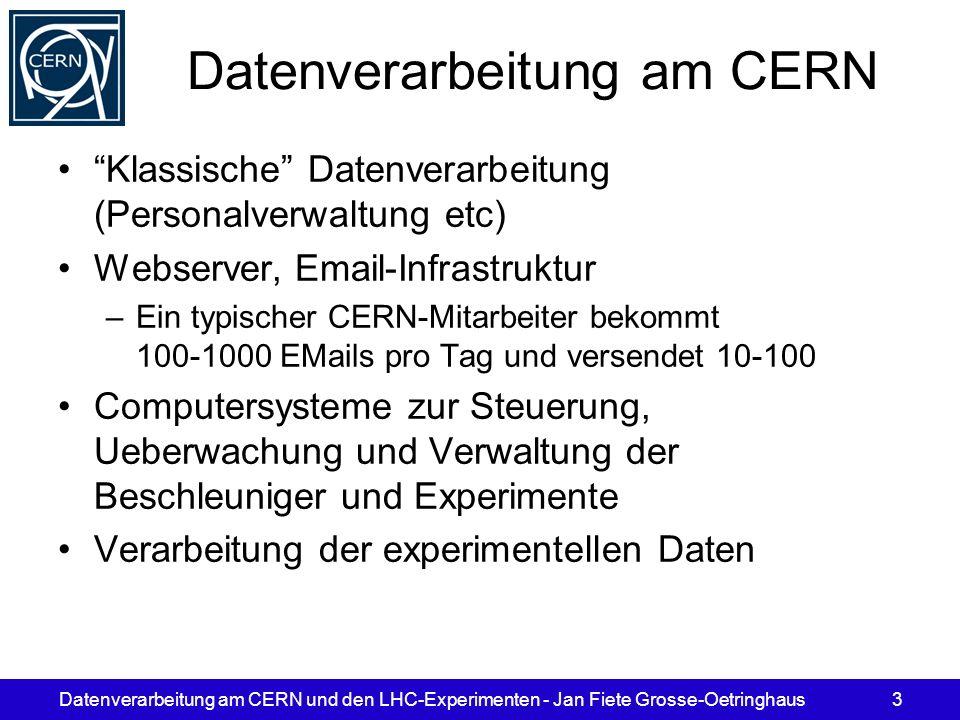 Datenverarbeitung am CERN und den LHC-Experimenten - Jan Fiete Grosse-Oetringhaus3 Datenverarbeitung am CERN Klassische Datenverarbeitung (Personalver