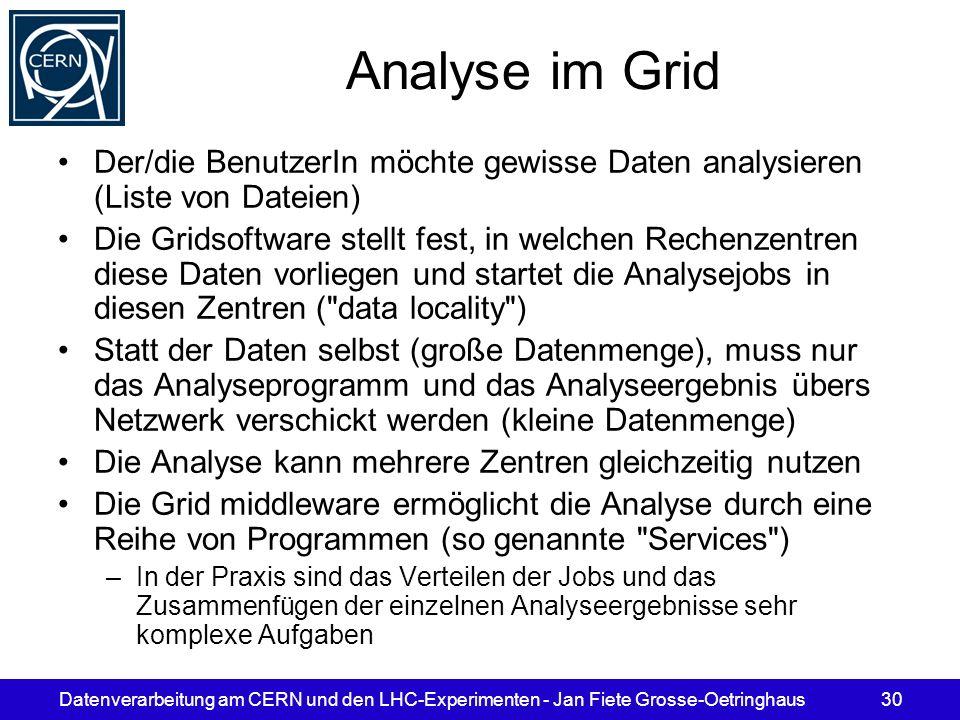 Datenverarbeitung am CERN und den LHC-Experimenten - Jan Fiete Grosse-Oetringhaus30 Analyse im Grid Der/die BenutzerIn möchte gewisse Daten analysiere