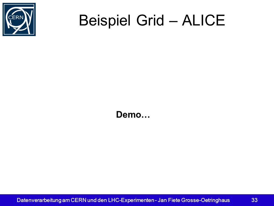 Datenverarbeitung am CERN und den LHC-Experimenten - Jan Fiete Grosse-Oetringhaus33 Beispiel Grid – ALICE Demo…