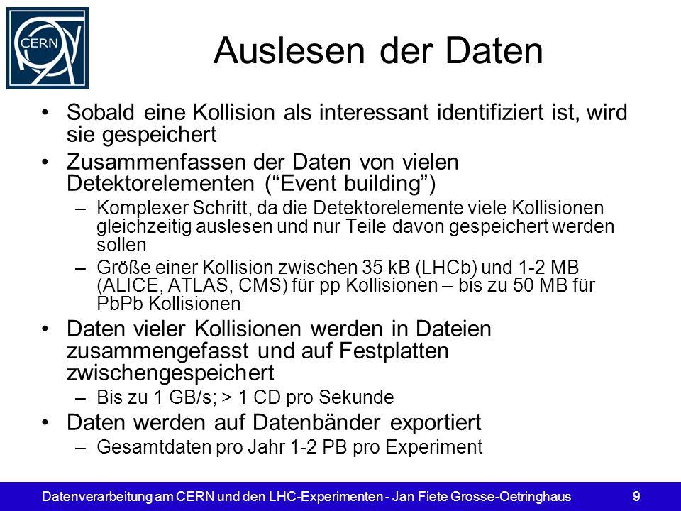 Datenverarbeitung am CERN und den LHC-Experimenten - Jan Fiete Grosse-Oetringhaus9 Auslesen der Daten Sobald eine Kollision als interessant identifizi