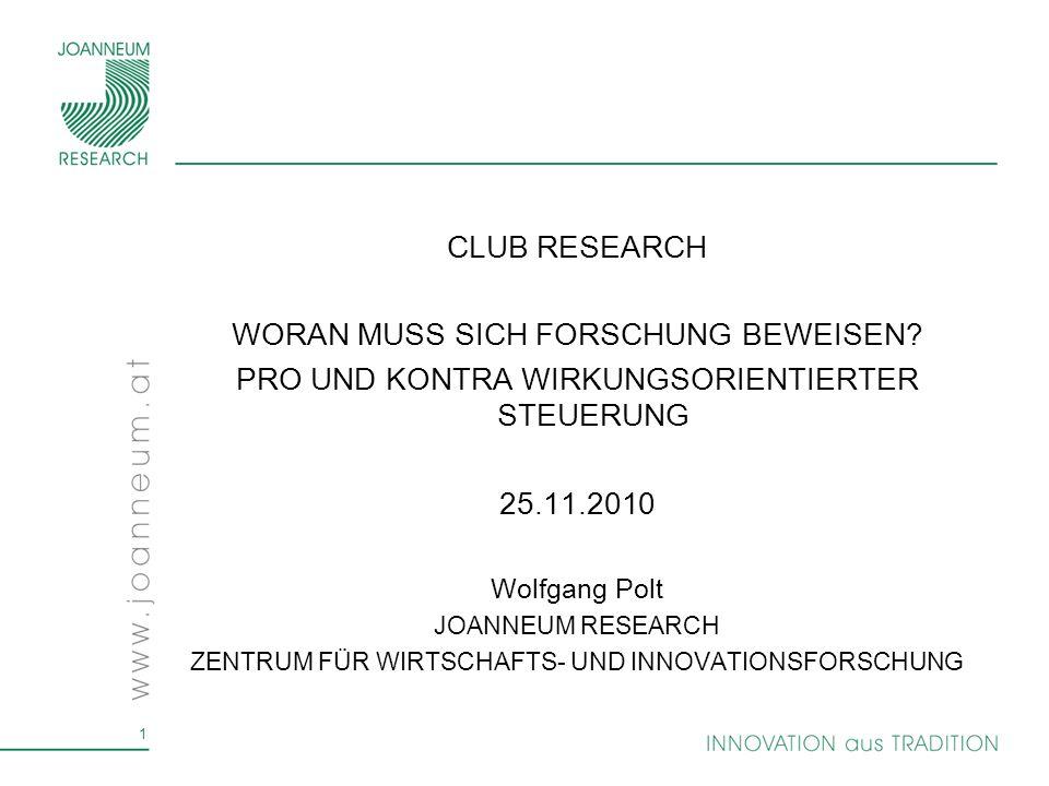 1 CLUB RESEARCH WORAN MUSS SICH FORSCHUNG BEWEISEN.