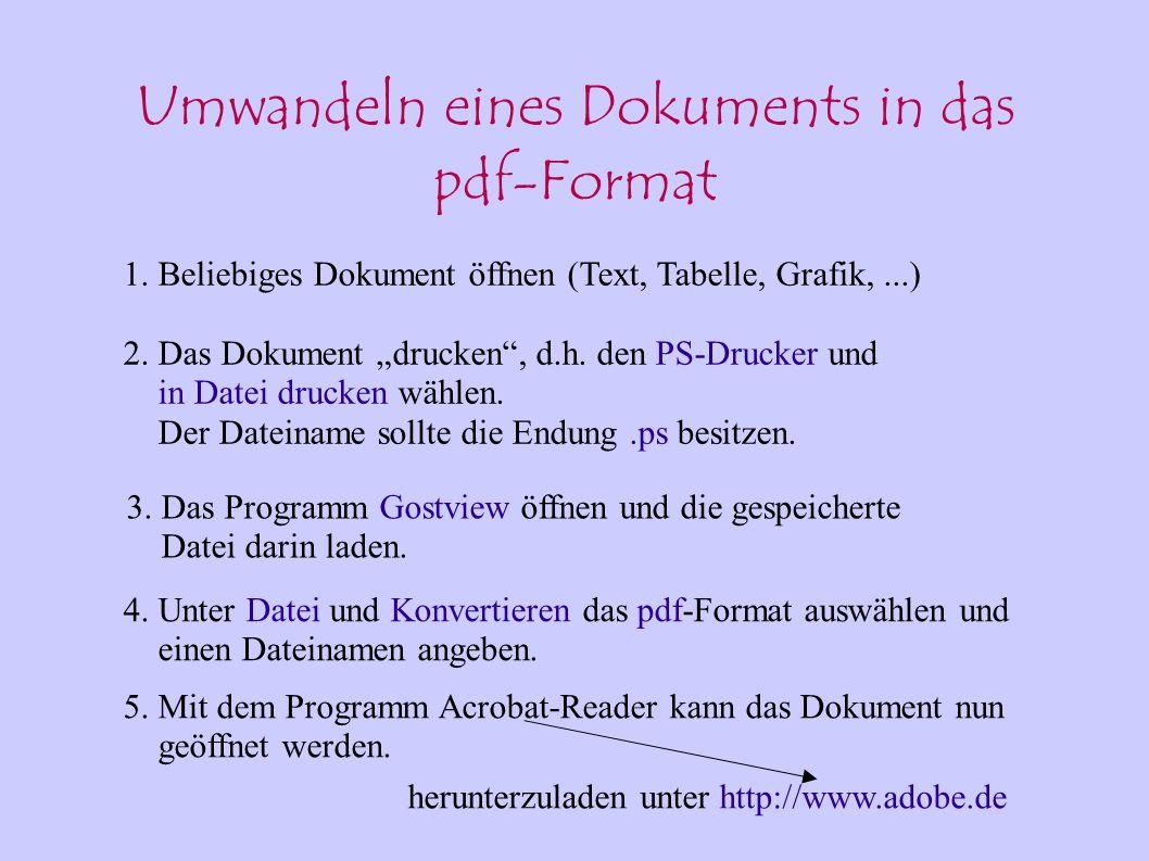 Umwandeln eines Dokuments in das pdf-Format 1. Beliebiges Dokument öffnen (Text, Tabelle, Grafik,...) 2. Das Dokument drucken, d.h. den PS-Drucker und