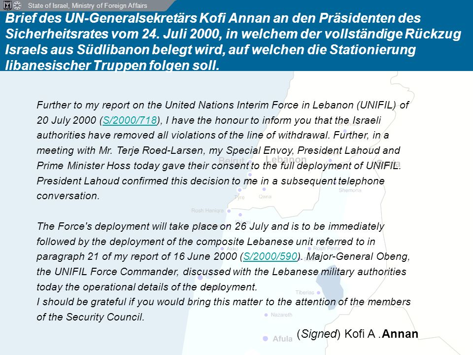 State of Israel, Ministry of Foreign Affairs Hisbollah greift an der Nordgrenze Israels an Mai 2000 - Juni 2006 27.