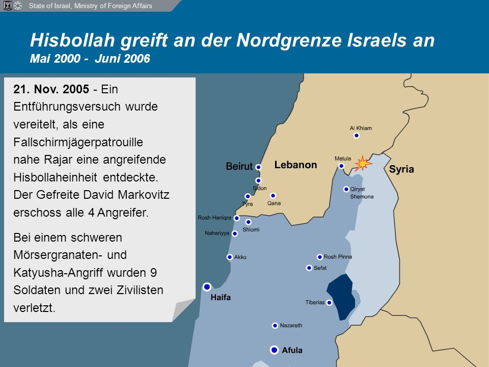 State of Israel, Ministry of Foreign Affairs Hisbollah greift an der Nordgrenze Israels an Mai 2000 - Juni 2006 21.