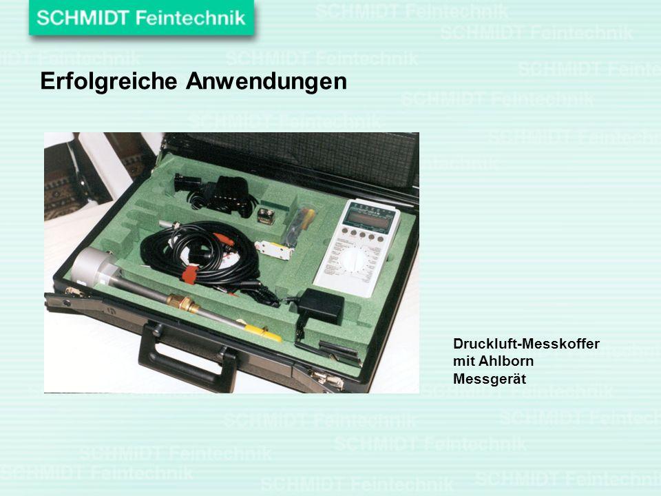 Erfolgreiche Anwendungen Druckluft-Messkoffer mit Ahlborn Messgerät