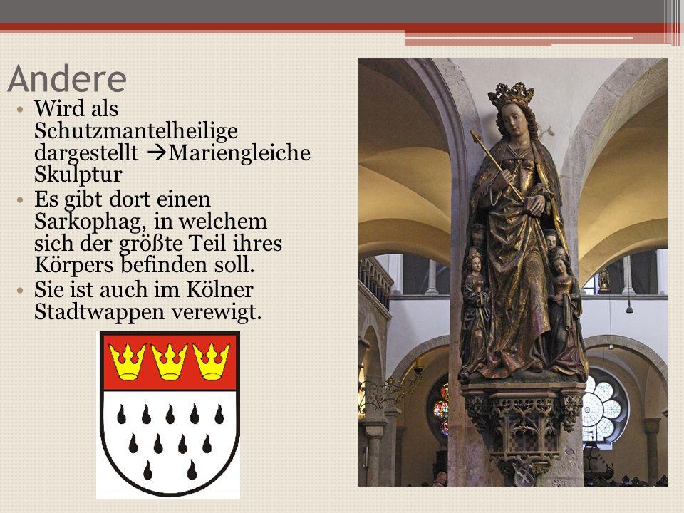 Andere Wird als Schutzmantelheilige dargestellt Mariengleiche Skulptur Es gibt dort einen Sarkophag, in welchem sich der größte Teil ihres Körpers befinden soll.