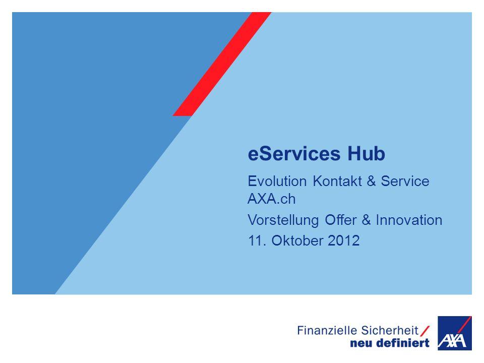 eServices Hub Evolution Kontakt & Service AXA.ch Vorstellung Offer & Innovation 11. Oktober 2012