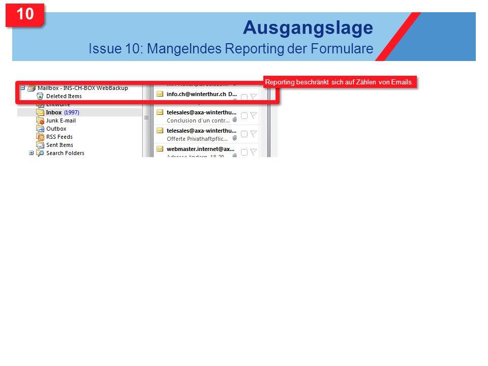Ausgangslage Issue 10: Mangelndes Reporting der Formulare Reporting beschränkt sich auf Zählen von Emails. 10
