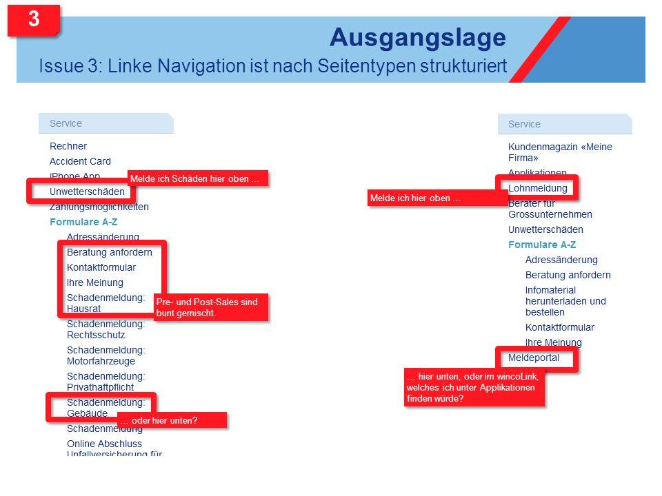 Ausgangslage Issue 3: Linke Navigation ist nach Seitentypen strukturiert Melde ich Schäden hier oben … … oder hier unten? Pre- und Post-Sales sind bun