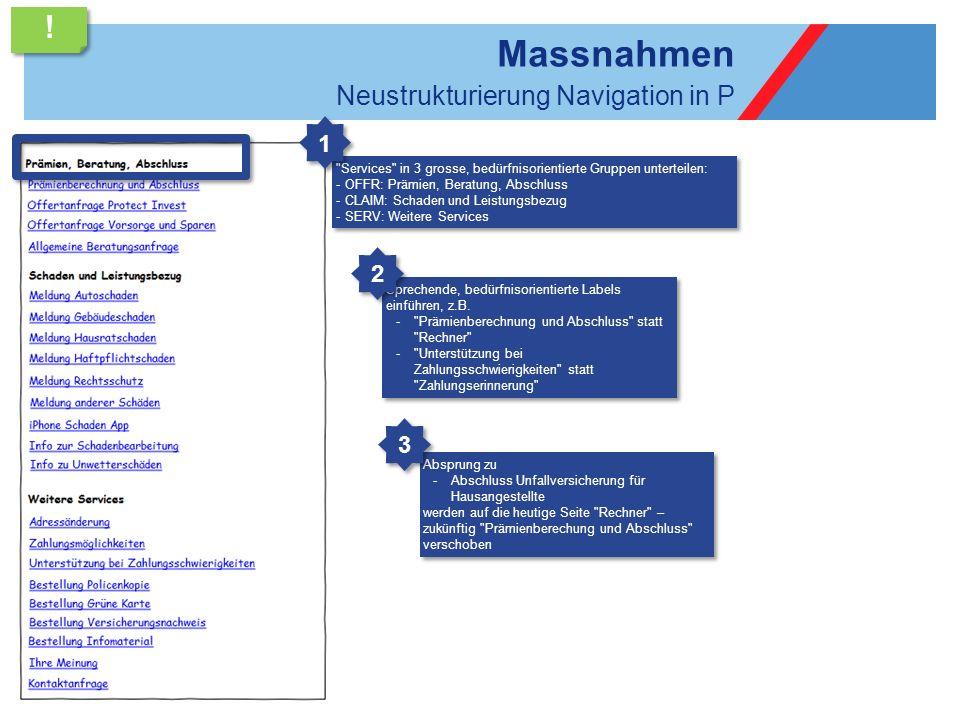 Massnahmen Neustrukturierung Navigation in P
