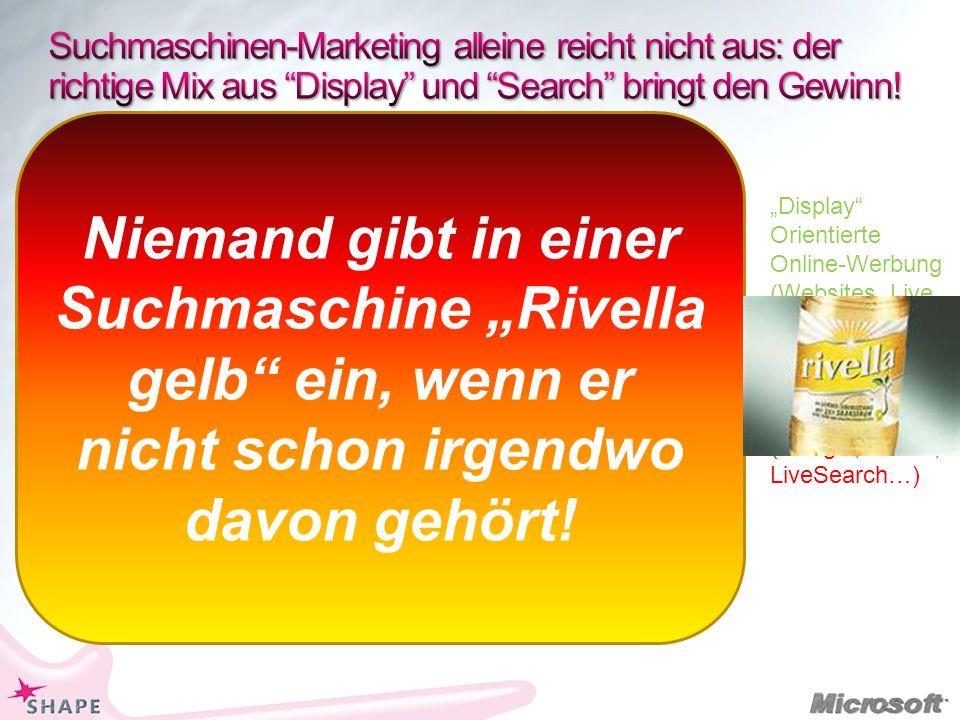 Display Orientierte Online-Werbung (Websites, Live Services) Suchmaschinen- Marketing (Google, Yahoo, LiveSearch…) Niemand gibt in einer Suchmaschine Rivella gelb ein, wenn er nicht schon irgendwo davon gehört!