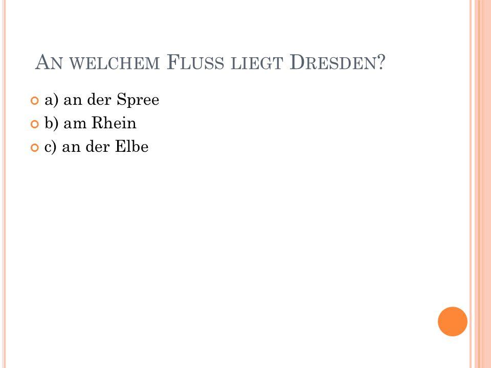 A N WELCHEM F LUSS LIEGT D RESDEN a) an der Spree b) am Rhein c) an der Elbe