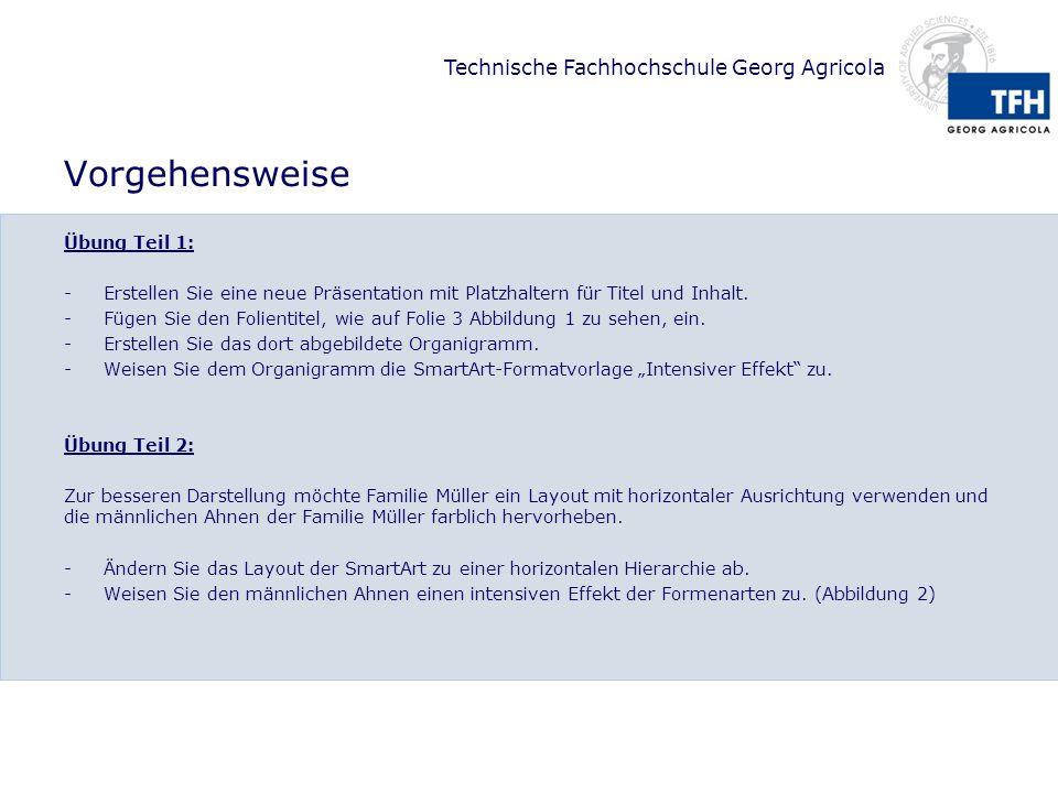 Technische Fachhochschule Georg Agricola Vorgehensweise Übung Teil 1: -Erstellen Sie eine neue Präsentation mit Platzhaltern für Titel und Inhalt.
