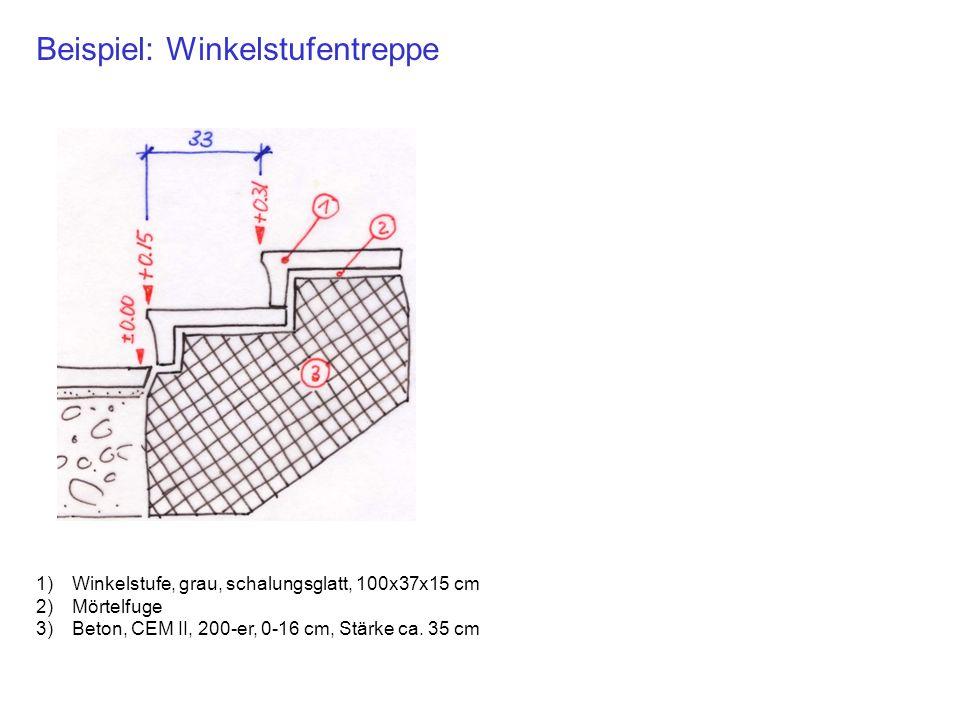 Beispiel: Winkelstufentreppe 1)Winkelstufe, grau, schalungsglatt, 100x37x15 cm 2)Mörtelfuge 3)Beton, CEM II, 200-er, 0-16 cm, Stärke ca. 35 cm