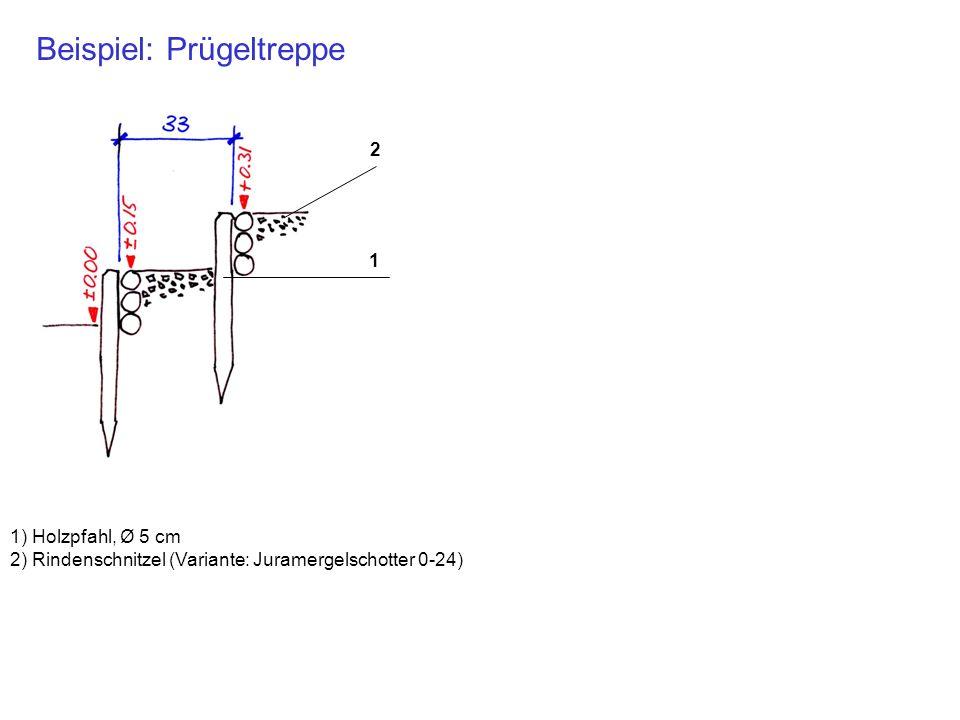 Beispiel: Prügeltreppe 1) Holzpfahl, Ø 5 cm 2) Rindenschnitzel (Variante: Juramergelschotter 0-24) 1 2
